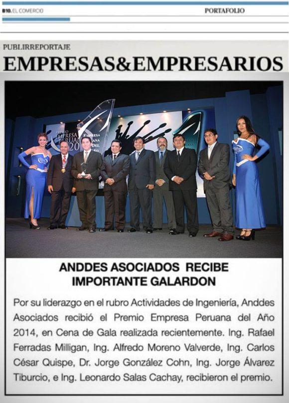 """NOTA EN EL DIARIO EL COMERCIO – ANDDES """"PREMIO EMPRESA PERUANA DEL AÑO 2014"""""""